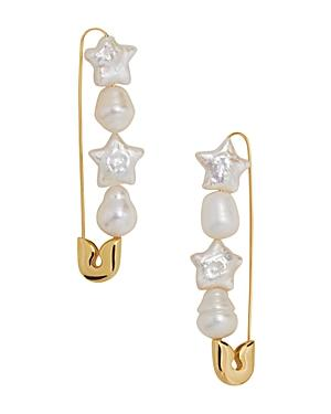 Baublebar Charisse Cultured Freshwater Pearl Safety Pin-motif Drop Earrings