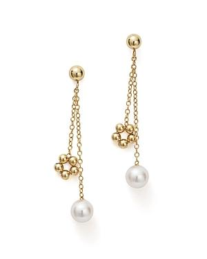 Bloomingdale's Cultured Freshwater Pearl & Beaded Dangle Charm Earrings In 14k Yellow Gold - 100% Exclusive