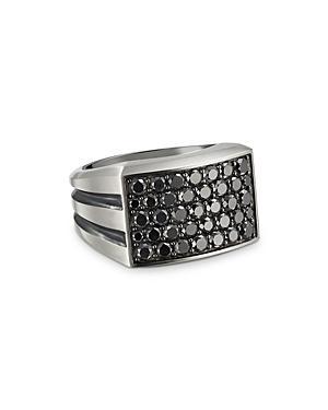 David Yurman Sterling Silver Beveled Signet Ring With Black Diamonds