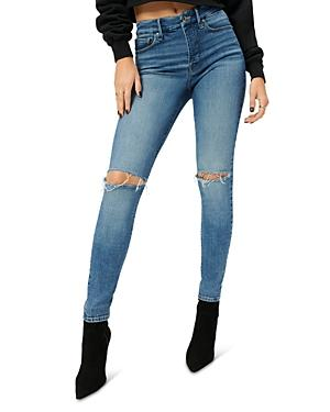 Good American Good Legs Distressed Ankle Skinny Jeans In Blue785