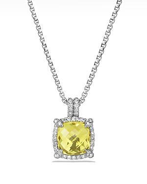 David Yurman Chatelaine Pave Bezel Pendant Necklace With Lemon Citrine And Diamonds