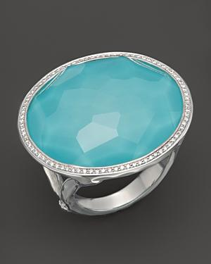 Ippolita Sterling Silver Stella Large Lollipop Ring In Turquoise Doublet With Diamonds