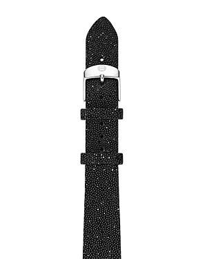 Michele Black Crystal Watch Strap, 16mm