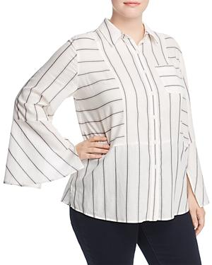 Vince Camuto Plus Striped Bell Sleeve Blouse