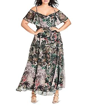 City Chic Plus Sacred Jungle Maxi Dress