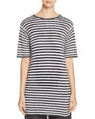 Eileen Fisher Petites Striped Knit Organic Linen Tunic