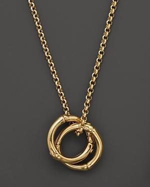 John Hardy Bamboo 18k Gold Small Round Interlinking Pendant On Whisper Chain Necklace, 16