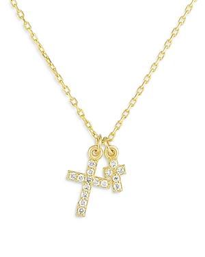 Moon & Meadow 14k Yellow Gold Diamond Double Cross Pendant Necklace, 18 - 100% Exclusive