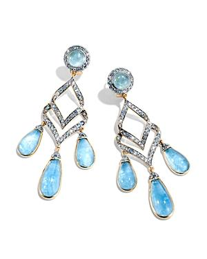 John Hardy 18k Yellow Gold Cinta Collection One-of-a-kind Aquamarine Modern Chain Earrings With Light Blue Sapphire, Swiss Blue Topaz & Diamond - 100% Exclusive