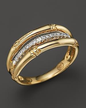 John Hardy Bamboo 18k Yellow Gold Diamond Pave Ring