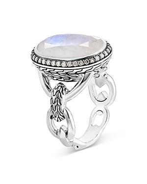John Hardy Sterling Silver Classic Chain Knife Edge Oval Ring With Gray Diamond Pave & Rainbow Moonstone
