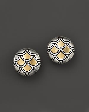 John Hardy Naga Sterling Silver And 18k Yellow Gold Button Earrings