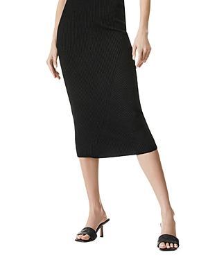 Alice And Olivia Laina Wool Blend Ribbed Midi Skirt