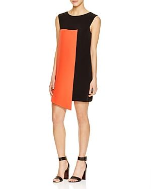 Milly Italian Cady Asymmetric Color Block Dress