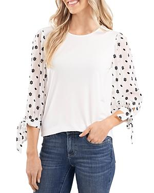 Cece Embroidered Puff Sleeve Top