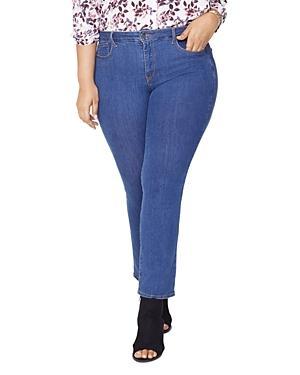 Nydj Plus Marilyn Straight Jeans In Batik Blue
