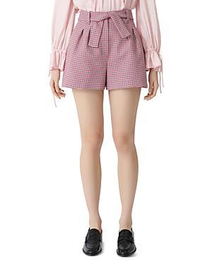 Maje Belted Houndstooth Shorts