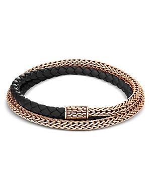 John Hardy Bronze & Black Leather Classic Chain Triple-wrap Bracelet