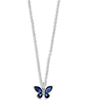 Bloomingdale's Blue Sapphire & Diamond Butterfly Pendant Necklace In 14k White Gold, 18 - 100% Exclusive