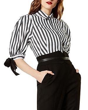 Karen Millen Balloon Sleeve Striped Shirt