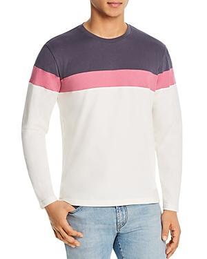 Marine Layer Jacob Cotton Pieced Color-blocked Crewneck Sweatshirt