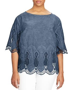 Lauren Ralph Lauren Plus Lace Trim Kimono Sleeve Top