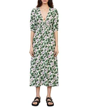 Maje Romantica Printed Midi Dress