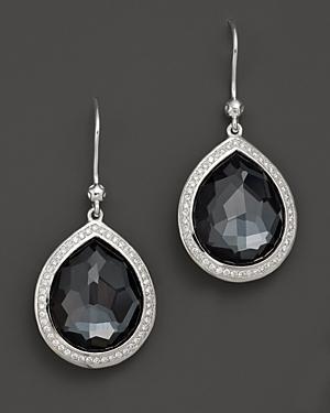 Ippolita Sterling Silver Stella Earrings In Hematite Doublet With Diamonds