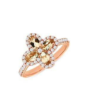 Bloomingdale's Morganite & Diamond Clover Ring In 14k Rose Gold - 100% Exclusive