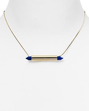Aqua Drake Stone Pendant Necklace, 16