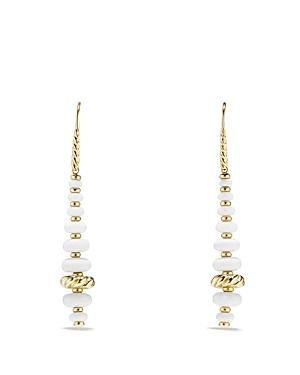 David Yurman Rio Rondelle Drop Earrings With White Agate In 18k Yellow Gold