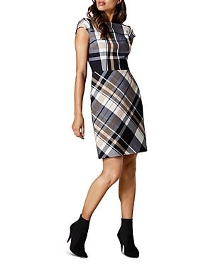 Karen Millen Cap-sleeve Plaid Sheath Dress