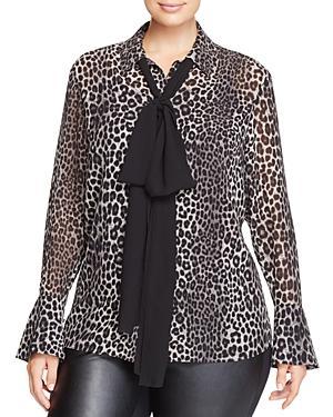 Michael Michael Kors Plus Bow Neck Leopard Print Blouse - 100% Exclusive
