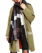 Free People Valley Fringed Plaid Scarf