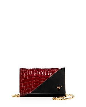 Giuseppe Zanotti Nicholson Croc-embossed Leather & Velvet Convertible Crossbody