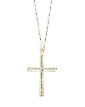 Bloomingdale's Diamond Cross Pendant Necklace In 14k Yellow Gold, 0.3 Ct. T.w, 18 - 100% Exclusive