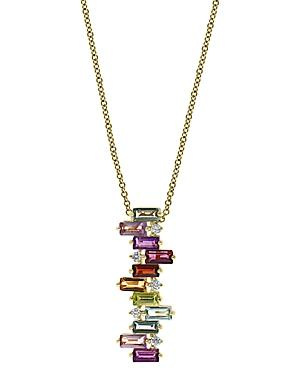 Bloomingdale's Rainbow Gemstone & Diamond Scattered Pendant Necklace In 14k Yellow Gold, 18 - 100% Exclusive