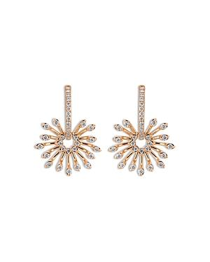 Hueb 18k Rose Gold Luminus Diamond Starburst Dangle Hoop Earrings