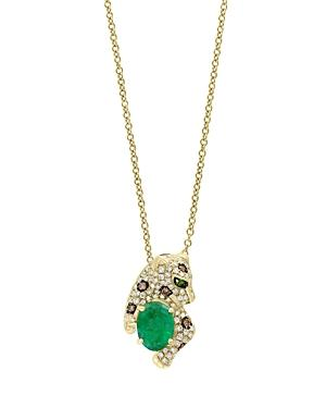 Emerald, White Diamond And Brown Diamond Panther Pendant Necklace In 14k Yellow Gold, 18 - 100% Exclusive