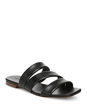 Vince Women's Dallas 2 Square Toe Black Leather Slide Sandals