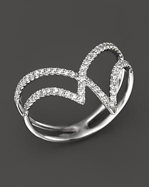 Diamond Geometric Ring In 14k White Gold, .30 Ct. T.w.