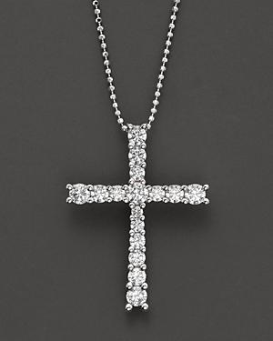 Diamond Cross Pendant In 14 Kt. White Gold, 1.0 Ct. T.w.