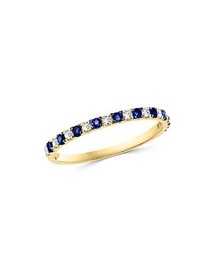 Bloomingdale's Blue Sapphire & Diamond Stacking Ring In 14k Yellow Gold - 100% Exclusive