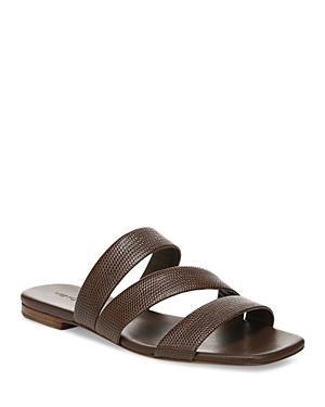 Vince Women's Dallas 2 Square Toe Fawn Beige Lizard Print Leather Slide Sandals