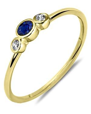 Meira T 14k Yellow Gold Blue Sapphire & Diamond Bezel Ring