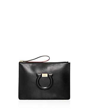 Salvatore Ferragamo Oversized Leather Wristlet