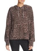 Sundry Leopard Print Hooded Sweatshirt