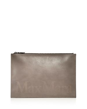 Max Mara Logo Leather Clutch