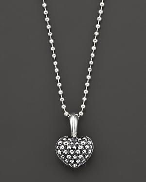 Lagos Sterling Silver Beaded Heart Pendant Necklace