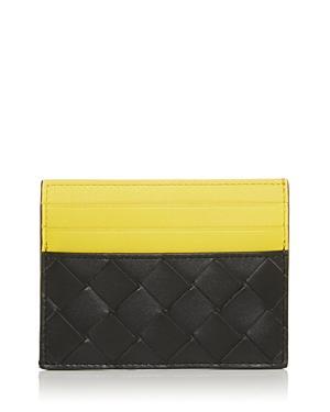 Bottega Veneta Color Block Woven Leather Card Case